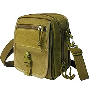 DIEBELLAU Messenger Tactical Bag Multi-Function Outdoor Accessory Bag Military Fan Outdoor Riding Shoulder Bag (Color : Army Green, Size : F)