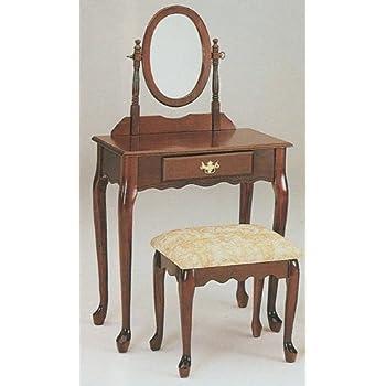 Amazon Com Queen Anne Style Cherry Finish Wood Vanity Set