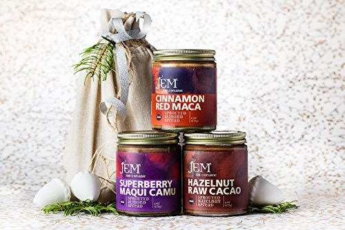Jem Raw Organices, Hostess With The Mostess, Organic Nut Butter Holiday Bundles, 3 6-OZ Jars With Linen Drawstring Bag