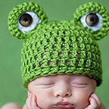 KAKA(TM) Lovely Newborn Crochet Knitted Baby Costume Baby Photo Photography Prop Clothes-Frog Hats
