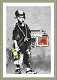 Alonline Art - Boy with Dance Mat Banksy Silver Framed Poster (Print on 100% Cotton Canvas on Foam Board) - Ready to Hang | 19''x27'' | Frame Framed Posters Framed Paintings Oil Painting Print