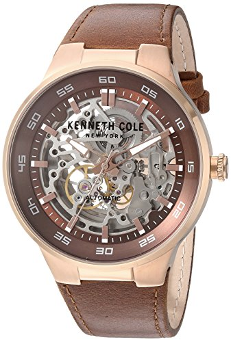 Kenneth Cole New York Men's ' Automatic Stainless Steel and Leather Dress Watch, Color:Brown (Model: 10030824)