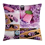 Lunarable Spa Throw Pillow Cushion Cover, Aromatic Spa with Lilac Petals Fresh Therapy Oils Bath Salt Soap Relax Meditation Collage, Decorative Square Accent Pillow Case, 36 X 36 inches, Violet