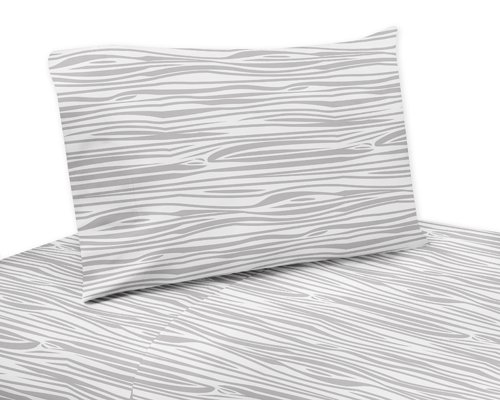 Sweet Jojo Designs 4-Piece Wood Grain Print Queen Sheet Set for Navy and White Woodland Deer Bedding Collection