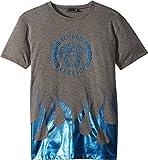 Versace Kids Boy's Short Sleeve Medusa Logo T-Shirt w/Flames (Big Kids) Grey 13/14