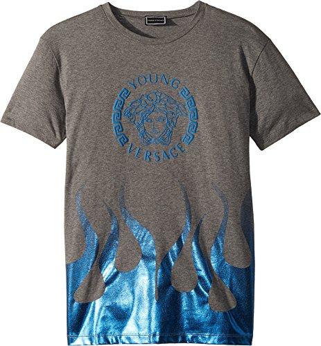 Versace Kids Boy's Short Sleeve Medusa Logo T-Shirt w/Flames (Big Kids) Grey - For Versace Kids
