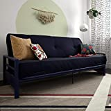 DHP 2263659 Miles Metal Futon Frame Perfect as a Sofa and Bed Blue