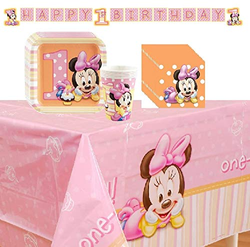 Minnies 1st Birthday Party Supplies Pack Including Plates, Cups, Napkins, and Tablecover- 16 Guests ()