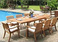 """9 Pc Luxurious Grade-A Teak Dining Set - 94"""" Rectangle Table and 8 Stacking Arm Chairs [Model:ABb] from WholesaleTeak"""