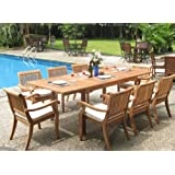 """New 9 Pc Luxurious Grade-A Teak Dining Set - 94"""" Rectangle Table and 8 Stacking Arm Chairs [Model:ABb]"""