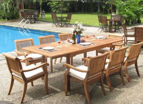 New 9 Pc Luxurious Grade-A Teak Dining Set - 94' Rectangle Table and 8 Stacking Arm Chairs [Model:ABb]