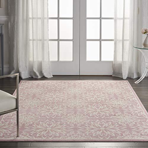 Nourison JUB06 Jubilant Transitional Floral Ivory/Pink Area Rug 4' x 6'