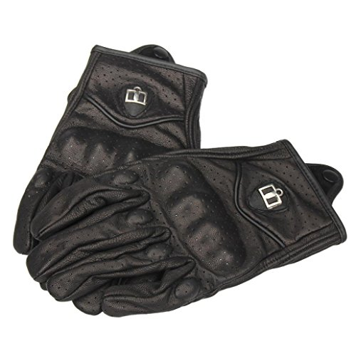 Riding Gloves, Bestpriceam 1 Pair Unisex Motorcycle Bicycle Riding Racing Bike Protective Armor Short PU Leather Gloves (Black 1, XL)