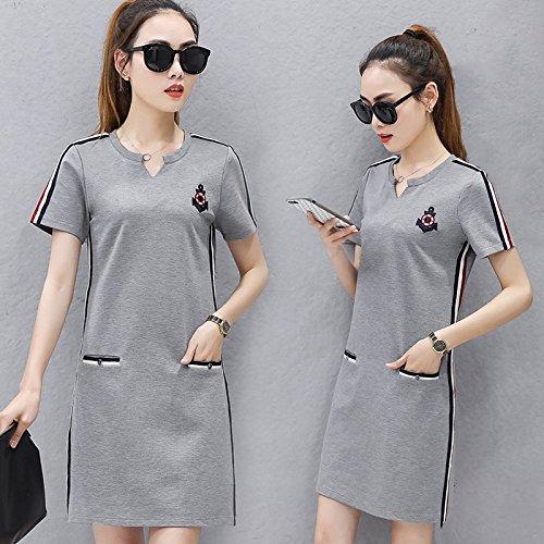 MiGMV?De l't Robes Robe Sport Code big, desserrs, Longueur Moyenne, Courte, Chemisier Manches Courtes T-Shirt, Jupe,M,Gray