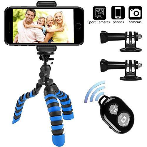 Tripod, Peyou [Upgraded Version] 3 in 1 Octopus Style Portable and Adjustable Tripod Stand + Phone Mount Holder for iPhone X 8/8 Plus 7/7Plus, for Samsung Galaxy S8/S8 Plus S7/S7 Edge Note 5, Other Phones Width Between 55mm - 85mm + Bluetooth Wireless Remote Control Shutter