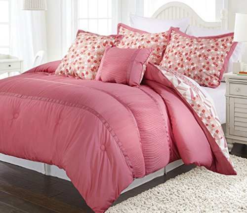 k Pleat Ribbon Comforter Twin Set, Stylish Floral Patchwork Pattern, Light Coral Salmon White, Chic Geometric Flower Diamond Bedding, Pretty Patch Scale Flowers Chevron Themed (Chevron Patch Set)