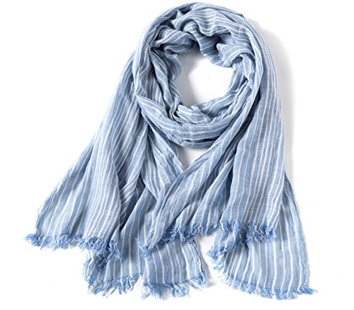 (WS Natural Lightweight Scarves: Fashion Shawl Wrap Scarf For Men And Women. Cotton Blend Super Soft Striped(Light blue))