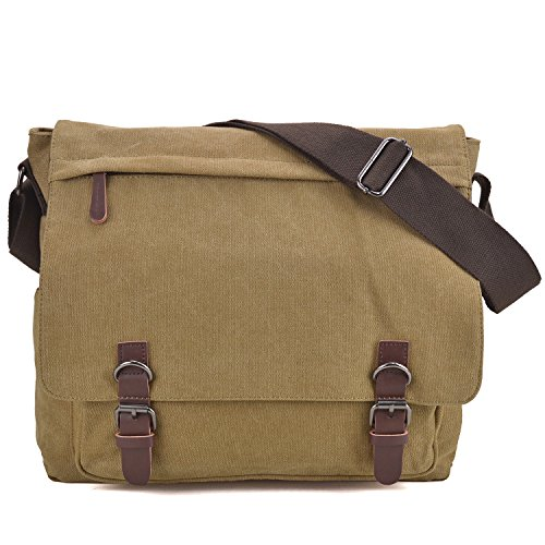 Large Vintage Canvas Messenger Shoulder Bag Crossbody Bookbag Business Bag for 15inch Laptop Beige