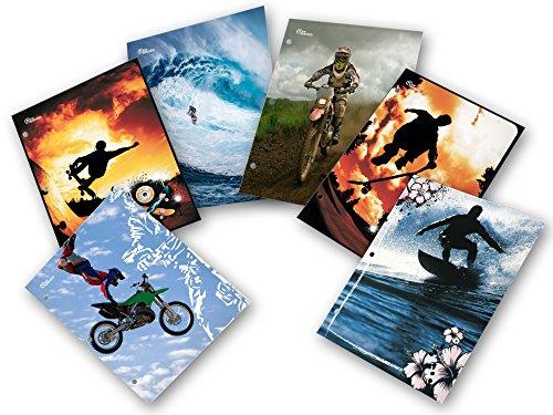 New Generation - Extreme Zone - 2 Pocket Folder / Portfolio Heavy Duty 3 Hole Punch - Assorted 6 Fashion Designs UV Glossy Laminated - 6 Folders per Pack
