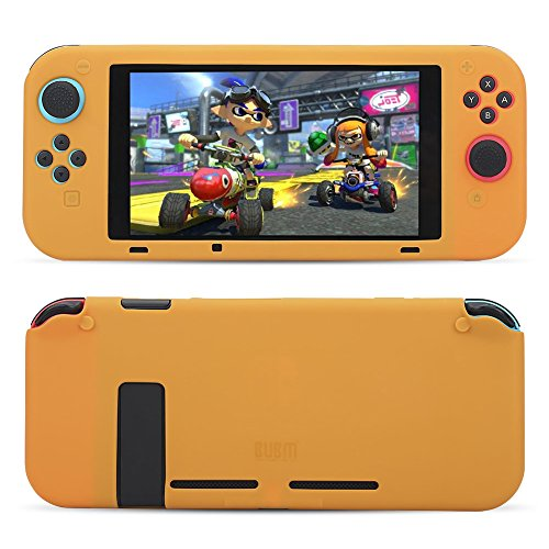 (STSEETOP Nintendo Switch case, Silicone Gel Rubber Cover Hybrid Shock-Absorption and Anti-Scratch Soft TPU Full-Body Shockproof Protective Case for Nintendo Switch (Orange))