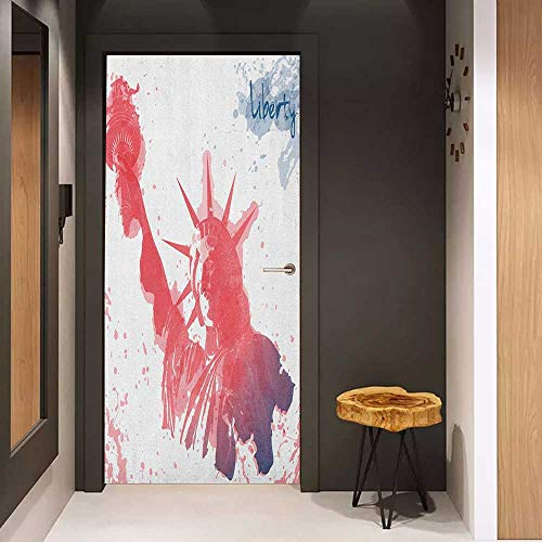 Onefzc Wood Door Sticker 4th of July Watercolor Lady Liberty Silhouette with Paint Splashes Independence Easy-to-Clean, Durable W30 x H80 Dark Coral Pale Blue