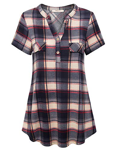 - Bebonnie Short Sleeve Shirts for Women,Female Plus Size V Neck Blouses Versatile Fashion Swing Casual Tartan Plaid Print Knit Henley Basic Summer Tunic to Wear with Leggings Black Grey XL