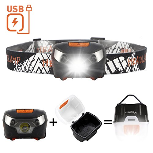 Rechargeable LED Heaplamp Flashlight, Idealhouse Waterproof Magnetic Headband Flashlight with Portable Light Box and USB Cable, Lightweight Super Bright for Kids Adults Riding Camping Running, Black
