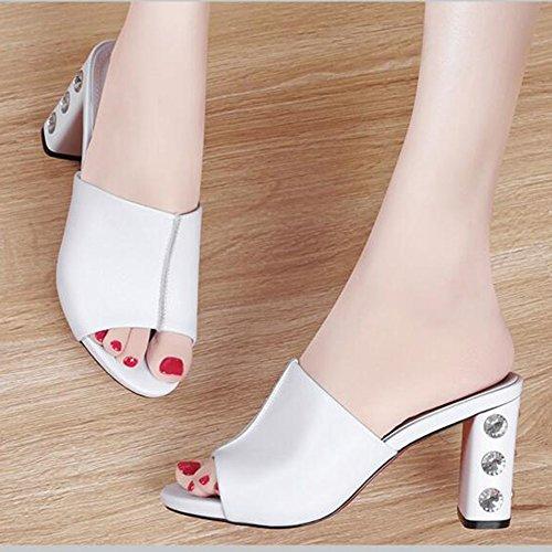 Toe Peep Goma Zapatos Tamaño color Al Mujer De uk6 Antidérapant Chanclas Sandalias Fei Verano Negro cn39 Caminando Libre Grueso Aire Para Confort Eu39 Blanco Tacón 57IqPwn