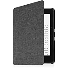 Fintie Case for Kindle Voyage - [The Thinnest and Lightest] Protective Fabric Slim Shell Cover with Auto Sleep/Wake for Amazon Kindle Voyage (2014), Denim Charcoal