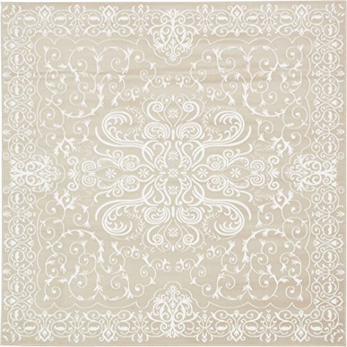 Modern Vintage Inspired Area Rugs Snow White 8' x 8' FT Himalaya Collection Rug - rugs for living room - rugs for dining room & bedroom - Floor Carpet