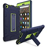 Amazon Kindle Fire HD 8 (2017 7th Gen) Case, AICase 3 in 1 Three Layer Hybrid Rugged Heavy duty Shockproof Full Body Cover for All-New Amazon Kindle Fire HD 8'' ((Dark Blue/Lemon yellow)