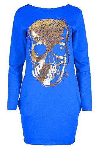 Womens Ladies Pocket Fleece Gold Foil Skull Print Tunic Bodycon Mini Dress Plus Size (US 16/18) Royal Blue