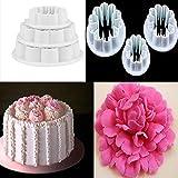 Cake Mold,Vovomay 3Pcs Decorating Carnations Flower Cake Fondant CookiePlunger Mold (White)