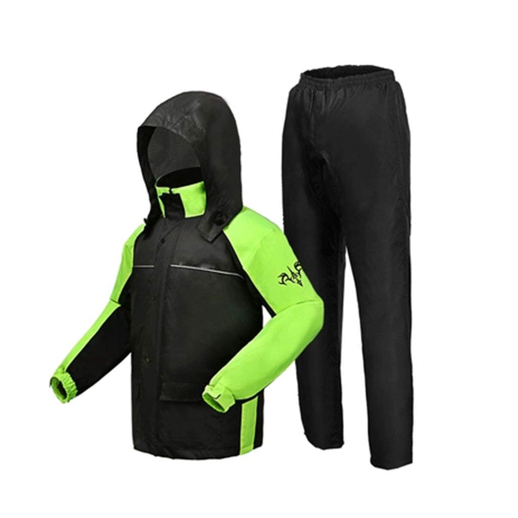 XJRHB Adult Raincoat Rain Pants Set Split Raincoat Cycling Rainstorm Raincoat Men's Outdoor Adult Hiking (Color : Fluorescent Green+Black, Size : XL) by XJRHB
