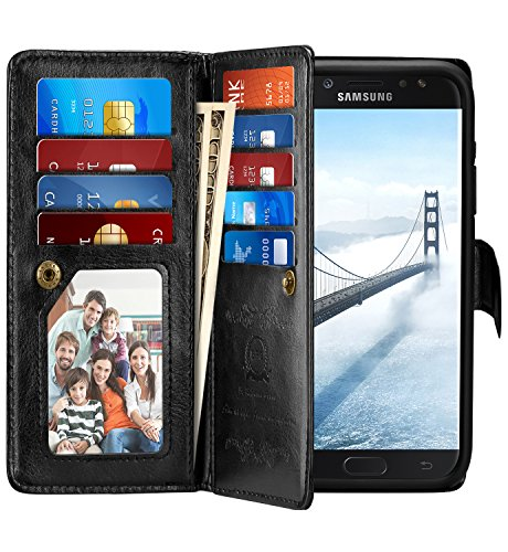 J7 Sky Pro Case, Pasonomi J7 Wallet Case with Detachable – 2 in 1 Folio Flip PU Leather Protective Shell Cover Card Holder Wrist Strap for Samsung Galaxy J7 Sky Pro (Black, Samsung Galaxy J7 2017) Review