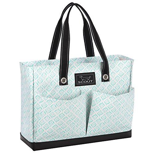 File Tote - SCOUT Uptown Girl Medium Multi-Pocket Tote Bag, Water Resistant, Zips Closed, Aqua Fresca