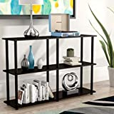 Classroom Bookshelves and Bookcases Etagere Bookcase Espresso/Black 3 Tier Industrial Modern Free Standing Rectangle Bookcase & E-Book