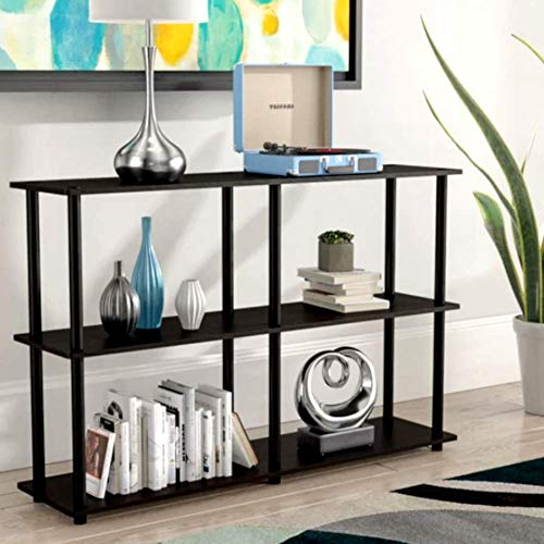 Classroom Bookshelves and Bookcases Etagere Bookcase Espresso/Black 3 Tier Industrial Modern Free Standing Rectangle Bookcase & E-Book by Classroom