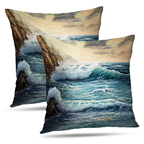 (WAYATO Oil-Painting 18 x 18 Decorative Pillow Covers, Showing Waves Ocean Sea Landscape Scenery Double-Sided Pattern Square Teal Pillow Covers Sofa Cushion Covers for Living Room)