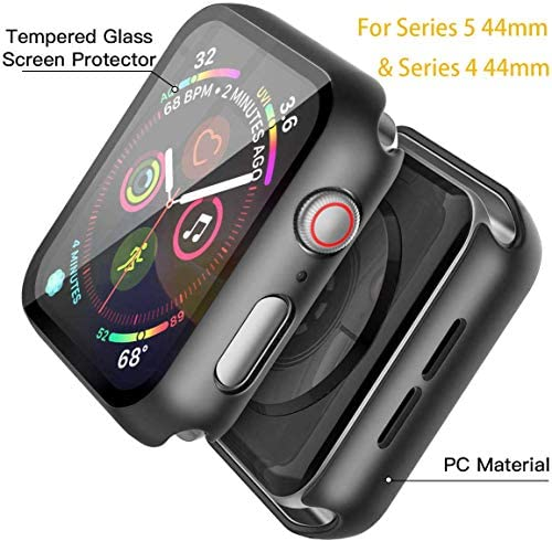 Misxi Black Hard Case Compatible with Apple Watch Series 5 Series 4 44mm with Screen Protector, Hard PC Case Slim Tempered Glass Screen Protector Overall Protective Cover for iwatch Series 5/4 4