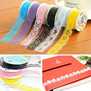 VIPASNAM-Roll DIY Washi Paper Lace Decorative Sticky Paper Masking Tape SELF Adhesive(random color)
