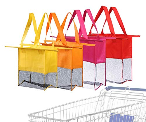 Reusable Shopping Cart Bags and Grocery Organizer Designed for Trolley Carts by Modern Day Living  (Green) (Red Purple Orange Yellow)