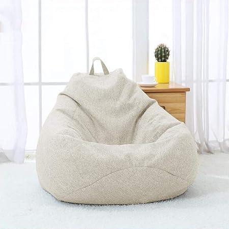 YQQ-Puff Bolsa De Frijoles Sillón Reclinable Bolsa De Frijol Gigante Relleno Asiento Beanbag De Juego Muebles De Jardín Interior/Exterior (Color : Creamy-White, Size : 90x110cm): Amazon.es: Hogar