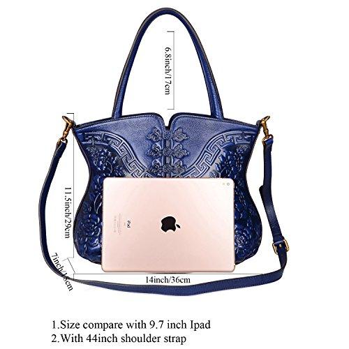 Women Satchel PIJUSHI Bags Top Bag Cheongsam Handle for Handbag 22331 Designer Shoulder Blue Floral qqRwHI1