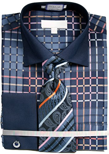 Men's Checkered Pattern Tone on Tone Dress Shirt French Cuffs Tie Hanky Cufflinks - Blue 17.5 34-35