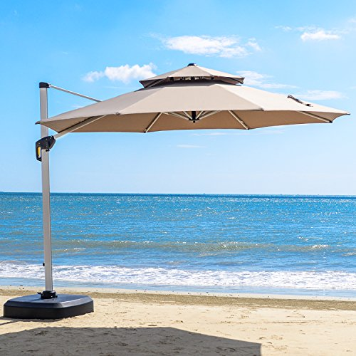 PURPLE LEAF 12 Feet Double Top Round Deluxe Patio Umbrella Offset Hanging Umbrella Outdoor Market Umbrella Garden Umbrella, Beige ()