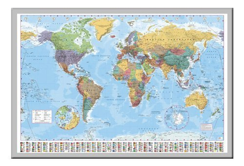 World map poster with country flags magnetic notice board silver world map poster with country flags magnetic notice board silver framed 965 x 66 cms gumiabroncs Images
