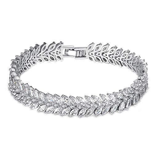 Onefeart White Gold Plated Bracelet for Women Marquise Cubic Zirconia Ear of Wheat Design Ladies Fashion Bracelet 17CM White Gold