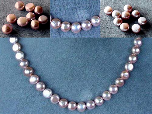 Gorgeous Peachy Pink 8mm Button FW Pearl Strand for Jewelry Making 104476 ()