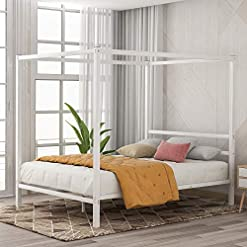 Bedroom Merax Modern Metal Canopy Bed Frame with Headboard, 4-Post Metal Framed Canopy Platform Bed for Kids Girls Boys Adults… modern beds and bed frames